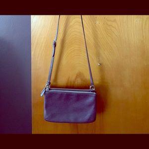 Coach leather crossbody double zipper purse